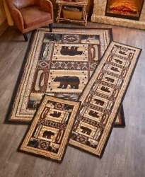 Lodge Accent Runner Area Rug Log Cabin Brown Bear Rustic Living Room Home Decor $33.71