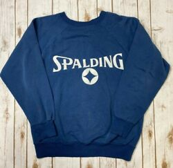 Vintage SPALDING Blue Sweatshirt Sz L Made In USA Distressed Faded $22.50