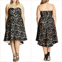 NWT $180 CITY CHIC SIERRA FIT amp; FLARE black nude LACE DRESS 18 plus cocktail NEW AU $79.95