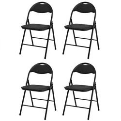 4 PACK Commercial Wedding Quality Stackable Plastic Folding Chairs Black NEW