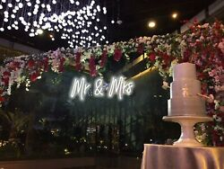 White Mr. amp; Mrs. Neon Sign Wedding Clear Acrylic Backed Hanging or Mounted decor $179.00