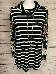 First Look Striped Navy Blue Cowl Neck Floral Boutique Top Knit Tee Womens M $19.99