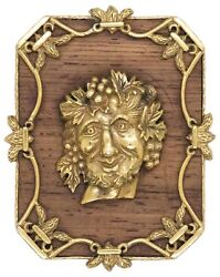 ALDO CIPULLO 1960 PENDANT BROOCH OF BACCHUS IN 18 KT AND WOOD VERY RARE