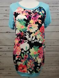 12pm Mon Ami Blue Baseball Black Floral Boutique Top Knit Tee Womens Large NEW $18.99