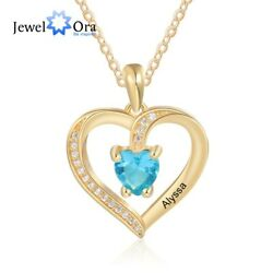 Engrave Name Heart Pendant Women Necklace GoldRose Gold Birthstone Jewelry Gift