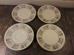 Vintage Taylor Smith Cathay Atomic Starburst MCM Set of 4 Saucer Dishes 5.75 $29.00