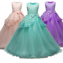 US Pageant Flower Girl Dress Kids Birthday Wedding Bridesmaid Formal Prom Gown
