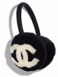 Chanel 19K Black Ivory White CC Logo Shearling Fur Cashmere Head Ear Earmuffs $2,247.75