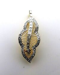 Diamonds Leaf Pendant and Used Brooch 18k. Yellow Gold