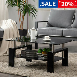 Black Modern Side Highlight Glass Top Coffee Table wShelf Living Room Rectangle $89.99