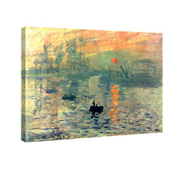 Canvas Print Monet Painting Repro Home Decor Wall Art Sunrise Orange Framed