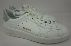 Golden Goose Purestar Pure Star White Leather Silver Glitter Sneakers Size 40 $300.00