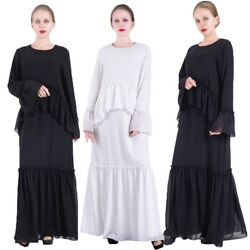 Fashion Muslim Chiffon Long Sleeve Maxi Dress Abaya Islamic Kaftan Ruffle Robe C $45.83