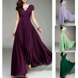 Women Long Formal Prom Party Bridesmaid Chiffon Evening Dress Cocktail Plus Size $21.59