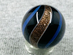 Antique German 19 32 .597 Black Base Blue Banded Lutz Marble polished #1616 $99.00