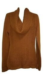 Angel Of The North Womens Sz Small Amber Gold Cowl Neck Knit Sweater Wool Blend $23.95