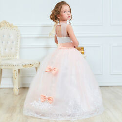 Flower Girl Dress Lace Princess Girls Kids Pageant Dresses Weeding Formal Gown $23.06