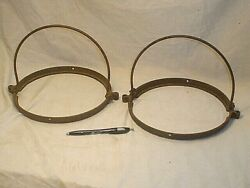 TWO ANTIQUE CAST IRON HANGING OIL LAMP PARTS $34.95