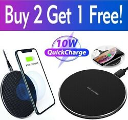 Qi Wireless Fast Charger Charging Pad Dock for iPhone Samsung Android Cell Phone $10.49
