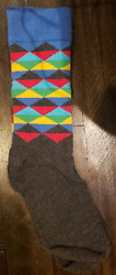 Men#x27;s Rainbow Geo Crew Sock Fun Socks $9.99