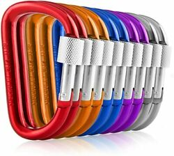 Carabiners Clip Set 10 Multicolor Pack of 3 Inch Locking D Ring Shape Clips NEW $8.79