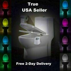 Motion Activated LED 8 Color Auto Toilet Bowl Bathroom Kids Night Light Lamp $4.50