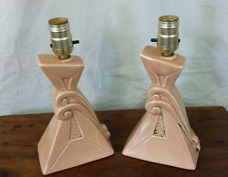 Vintage Lamps Pair Deco Nouveau Salmon Color Lamps $89.99