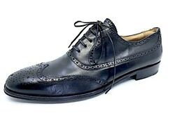 BARNEYS NEW YORK BLACK LEATHER WINGTIP PERFORATED OXFORD SHOE 11.5 US ITALY $45.00