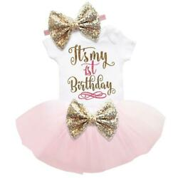 It#x27;s My 1st Birthday Sets Baby Girl Tutu Cake Dress Outfit Party Clothes 3pcs $11.98