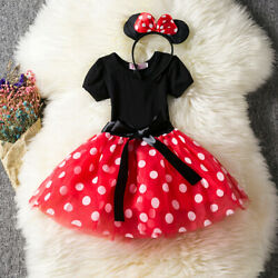 Girl  Minnie Dots Dress Outfits Sets 2pcs Kids Baby Tutu Birthday Party Costume $11.88