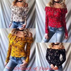 Floral Boho Peasant Off Shoulder Ruffle Detail Long Sleeve Smock Fitted Crop Top $17.89