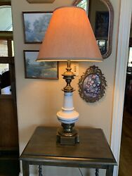 Vintage Stiffel Lamp Large Brass Pottery Mid Century 1960s Signed Label $225.00