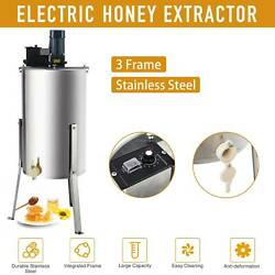 Electric 3 Frame Honey Extractor Beekeeping Stainless Steel Honeycomb Drum 24