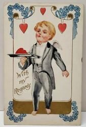 Valentines Boy Cherub in Tuxedo quot;With My Regardsquot; his Tray of Hearts Postcard A2 $6.95