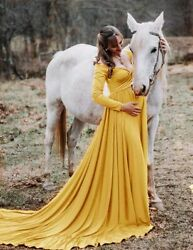 Maxi Dresses Long Maternity Ladies Full Sleeves Photo Shoots Dress For Pregnant $35.53