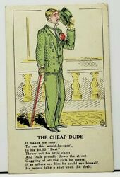The Cheap Dude Throw Out his Little Chest Stalk Proudly Down Street Postcard E8 $5.06