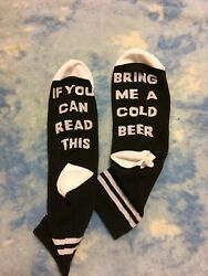 Cold Beer If You Can Read This Anklet 4 10 Black White Novelty Socks Women $3.00