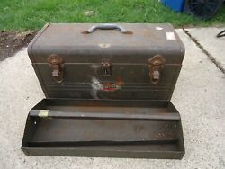 Craftsman Portable Steel Tool Box with Tray 1950s 18 inch USA $64.99