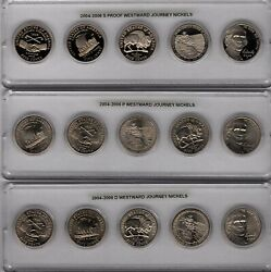 2004 2005 2006 P+D+S Westward Journey Jefferson Nickel ~ 15 Coin Set