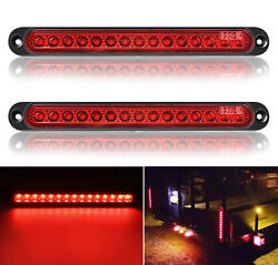 2X 10quot; 15 LED Red Sealed Trailer Truck Lorry Stop Tail Rear Turn Brake Light Bar $16.95