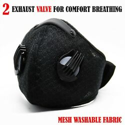 Reusable Protective Face Mask with 2 Valve and filter (Ships out today from USA) $15.09