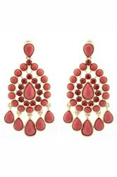 Bollywood Indian Earrings Red Chandelier Swarovski Crystal Asian Pakistani GBP 5.00