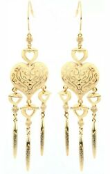 Ivory and Gold Heart Earrings Enamel Chandelier Cream Colour GBP 5.00