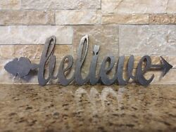 BELIEVE Metal Wall Art Word Quote Sign Arrow Wall rustic Decor 11 x 3.5 in. $14.95