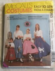 McCalls Costume Easy To Sew Poodle Skirts At The Hop 7253 Size XS LG Halloween $8.50