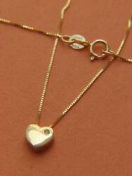 Solid 14k Gold Box link Chain amp; Heart Pendant Necklace Real 14kt gold Necklace $86.99
