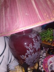 Red Lamp With Floral Design and Shade $19.00