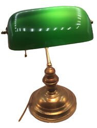 Art Deco Bankers Brass Desk Lamp Green Glass Vintage Light Pull Chain Piano $149.90