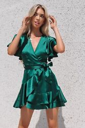 Emerald Satin Butterfly A Line Cute Classy Cocktail Dress AU $79.99