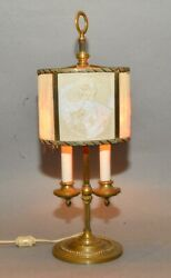Antique Lamp 2 Candle Brass Base w 2 Lithophanes amp; Pleated Fabric Shade as is $299.99